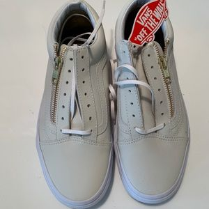 Light Gray Leather Vans With Gold Zipper